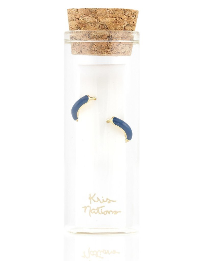 Kris Nations Enamel Huggie Hoop Earrings