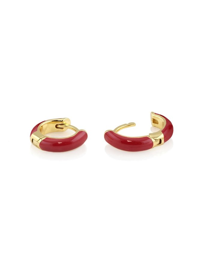 Enamel Huggie Hoop Earrings