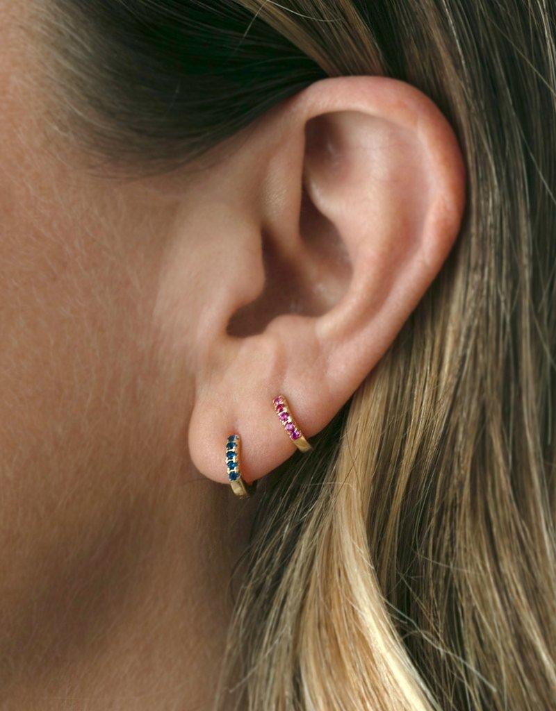 Kris Nations Pave Huggie Hoop Earrings