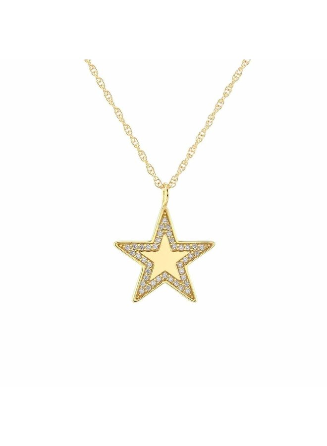Medium Star Charm Necklace w/ Pave