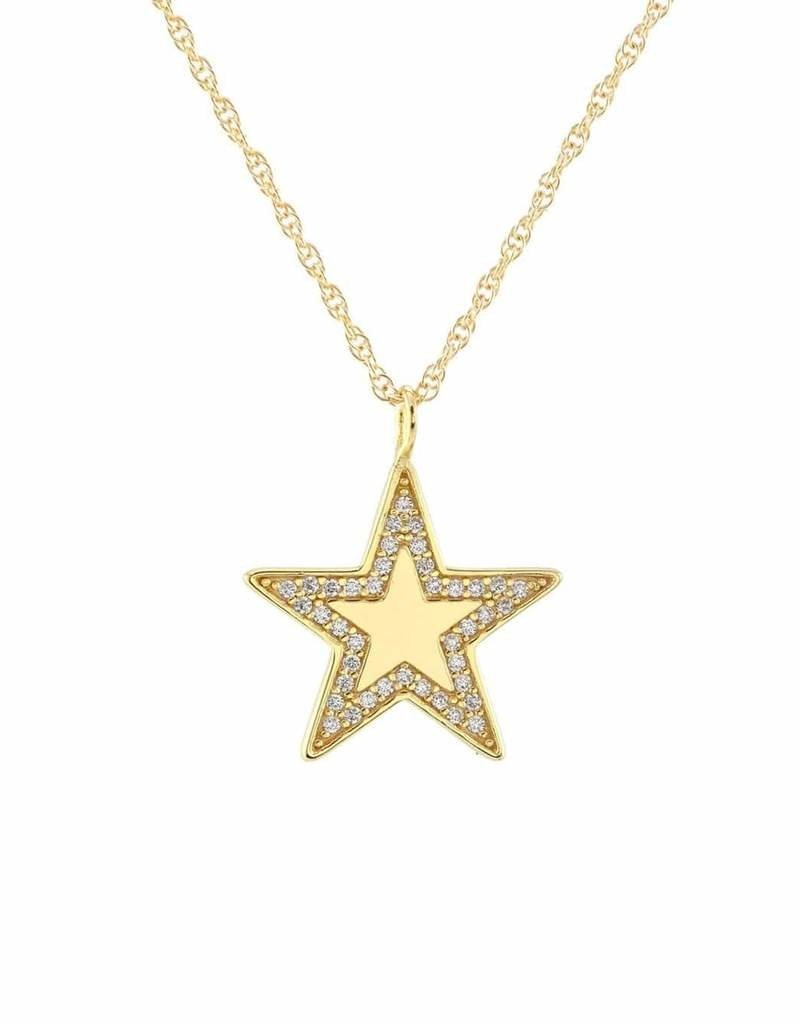 Kris Nations Medium Star Charm Necklace w/ Pave