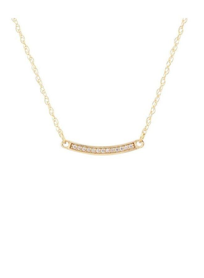 Bar Pave Charm Necklace Silver