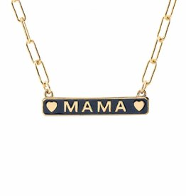 Kris Nations Mama Enamel Charm Necklace Gold