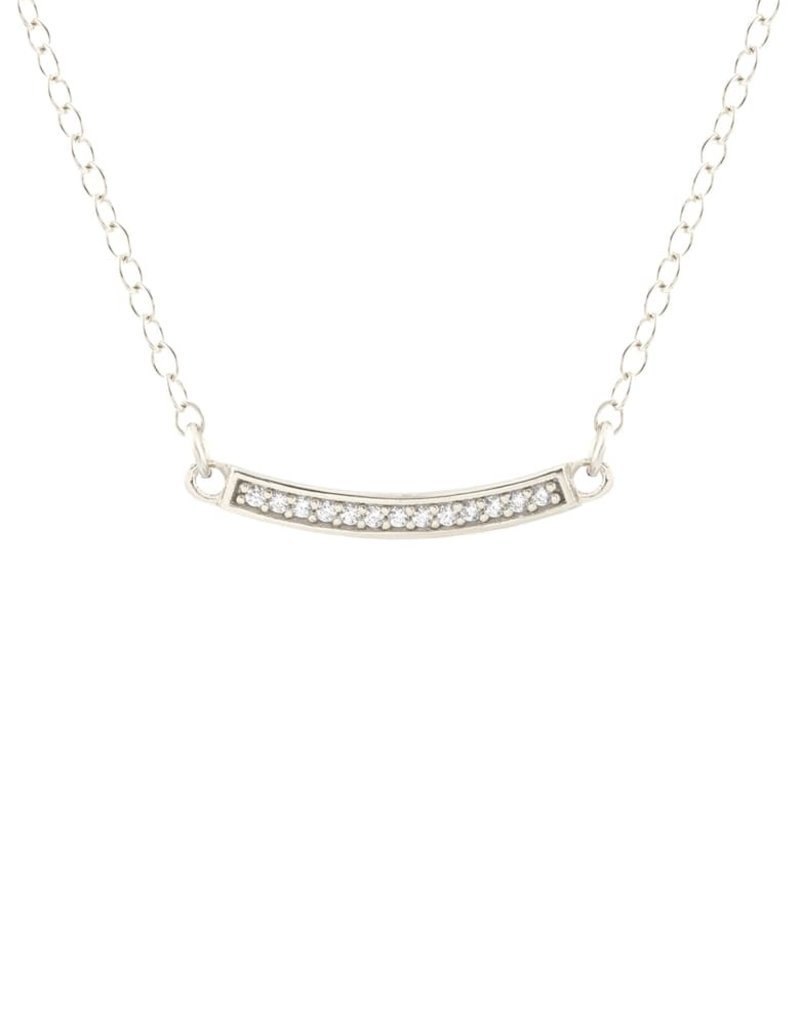 Kris Nations Bar Pave Charm Necklace Silver