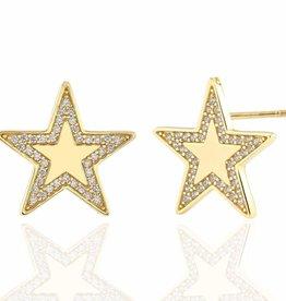 Kris Nations Oversized Star Stud Earrings w/ Pave