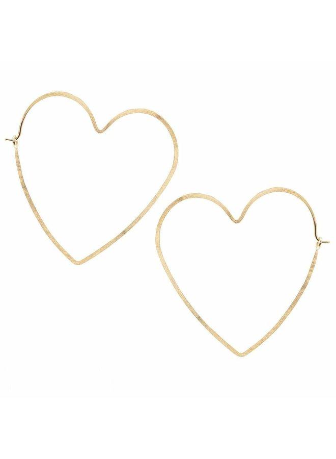 Heart Hammered Hoop Earrings