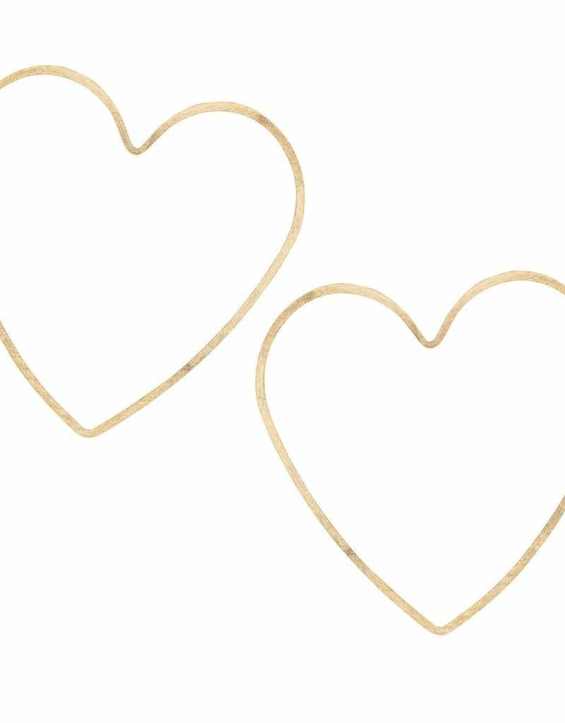 Kris Nations Heart Hammered Hoop Earrings