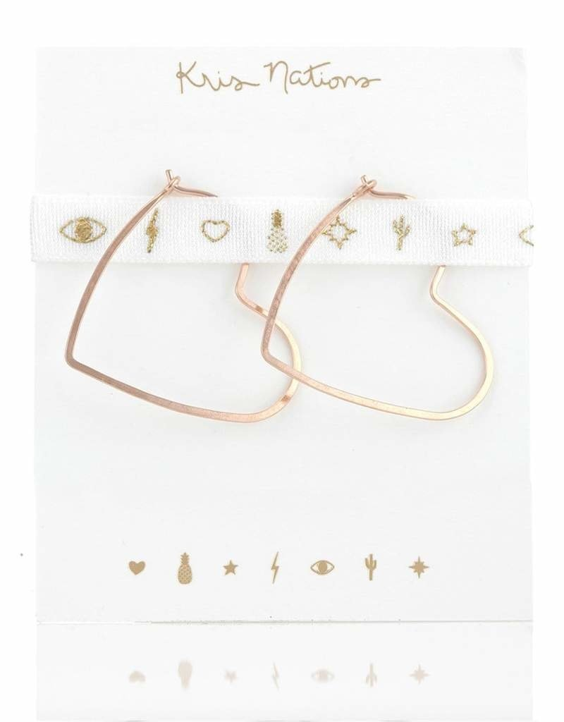 Kris Nations Heart Hammered Hoop Earrings