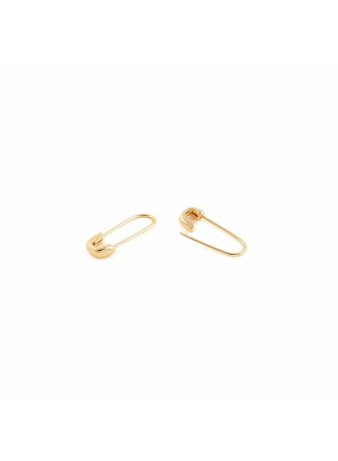 Safety Pin Hoop Earrings Gold