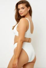 Frankies Bikinis Cole Ribbed Top White