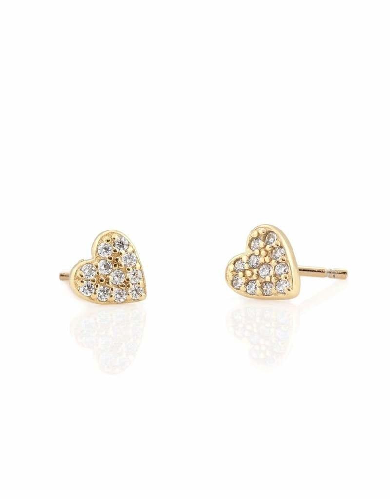 Kris Nations Heart Pave Stud Earrings