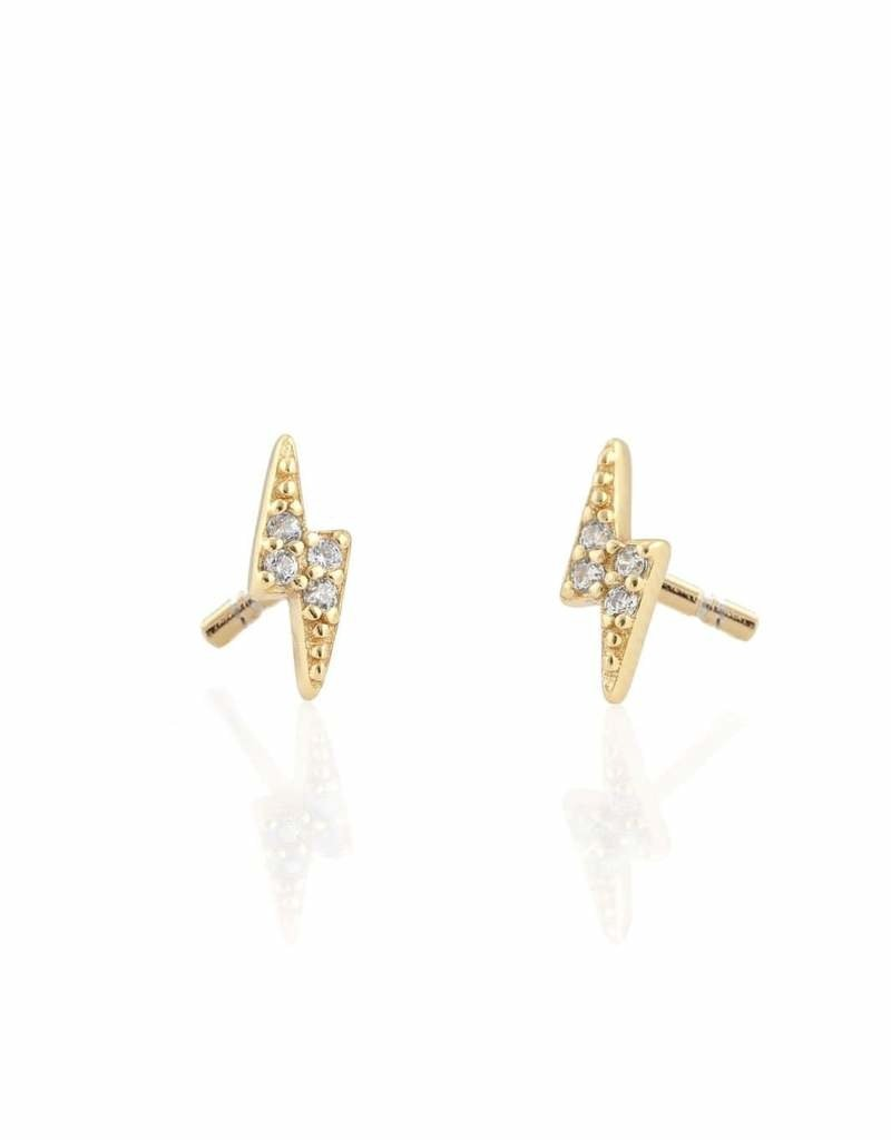 Kris Nations Lightening Bolt Pave Stud Earrings