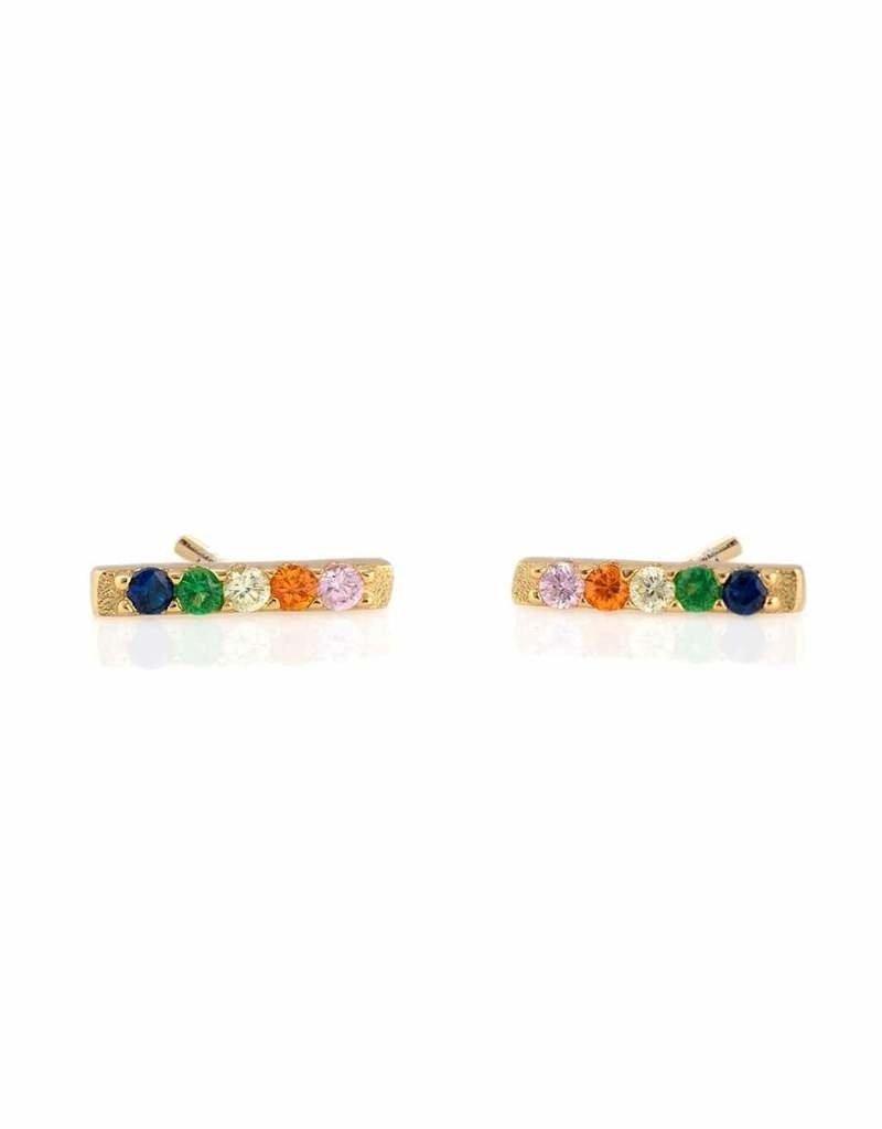 Kris Nations Rainbow Bar Dash Pave Stud Earrings