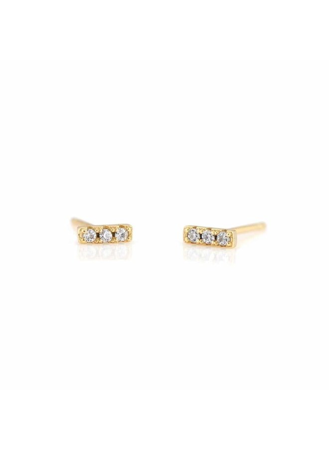 Bar Dash Pave Stud Earrings Crystal
