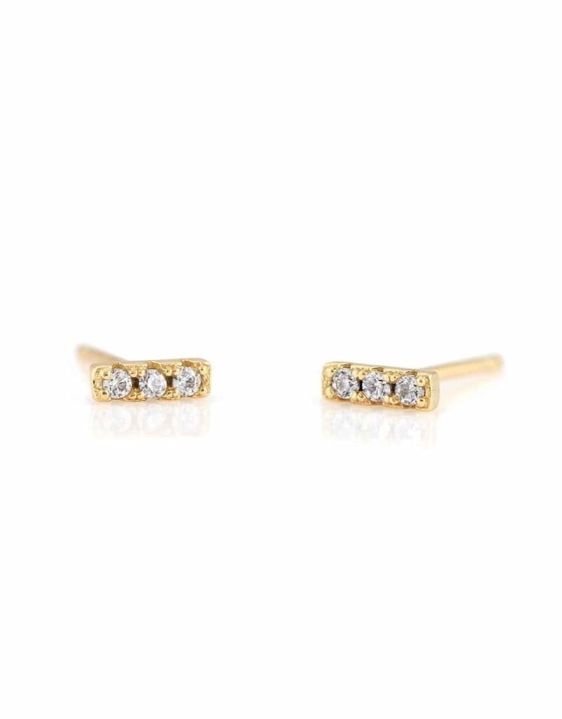 Kris Nations Bar Dash Pave Stud Earrings Crystal