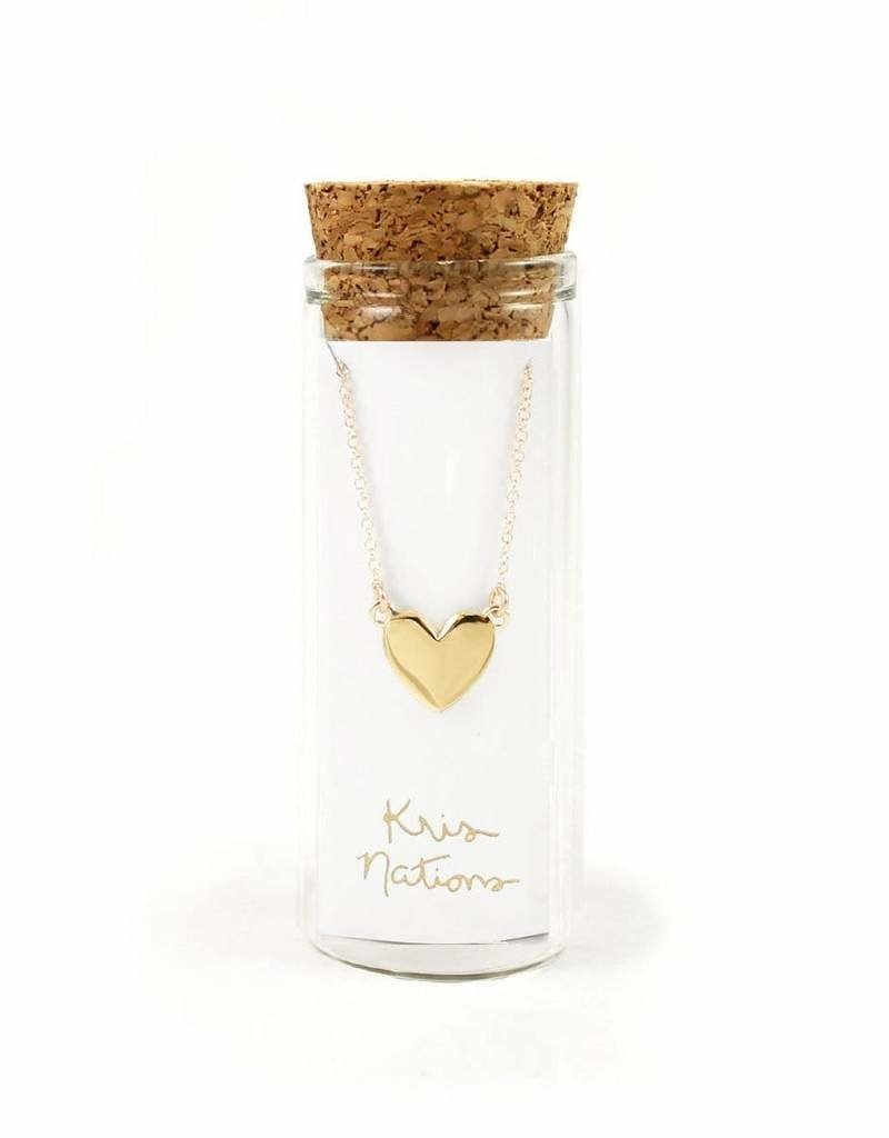 Kris Nations Solid Heart Charm Necklace Gold