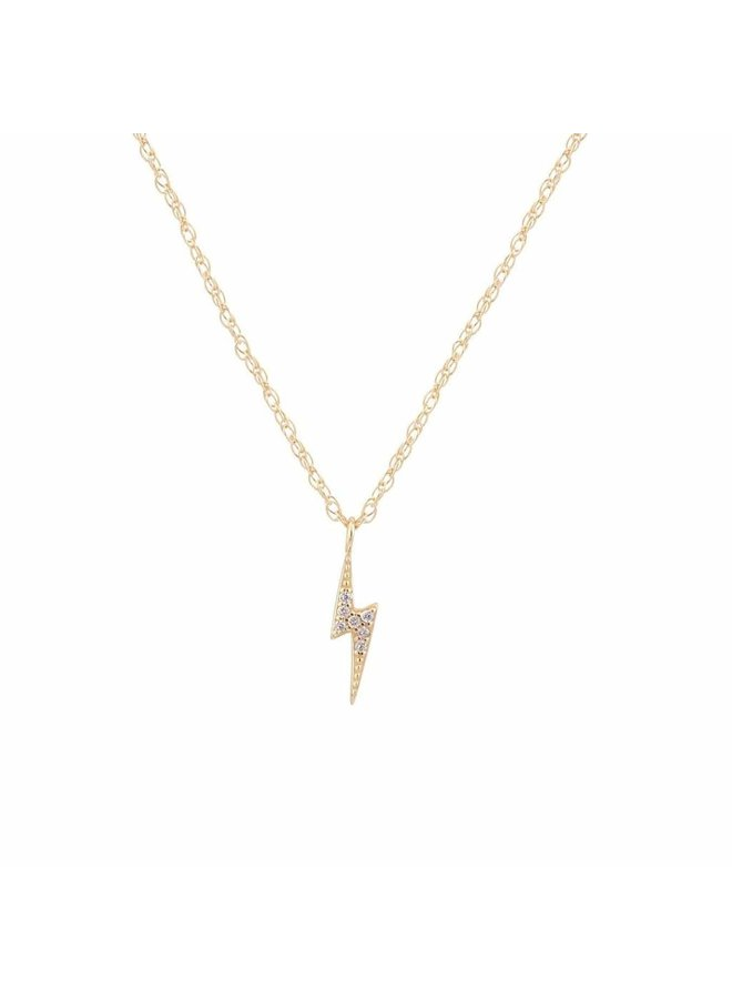 Lightening Bolt Pave Charm Necklace