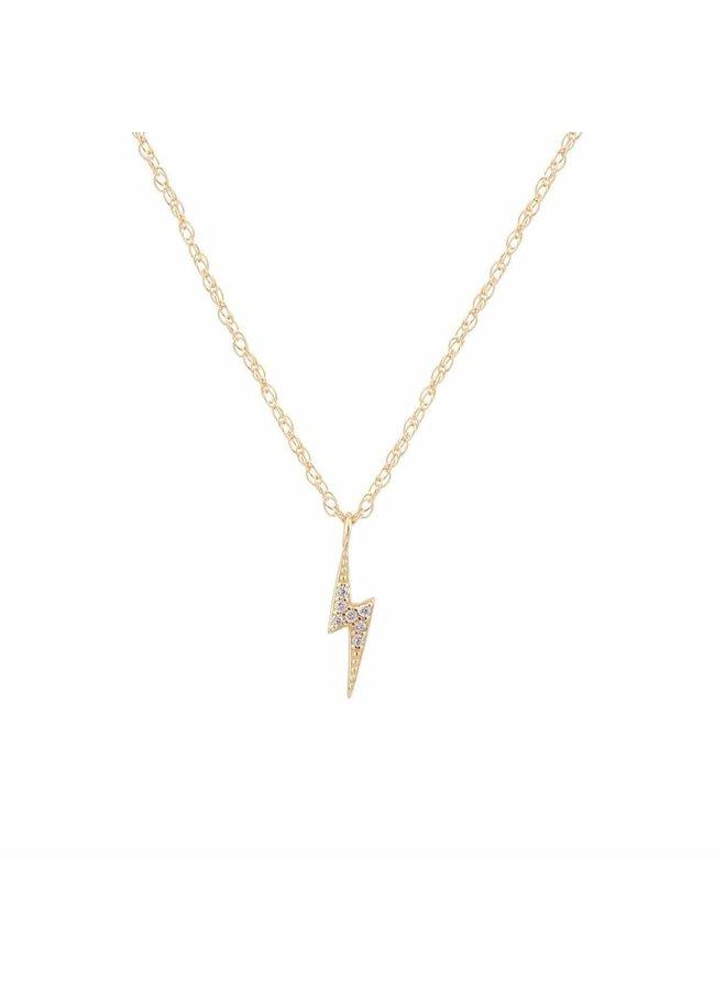Lightening Bolt Pave Charm Necklace