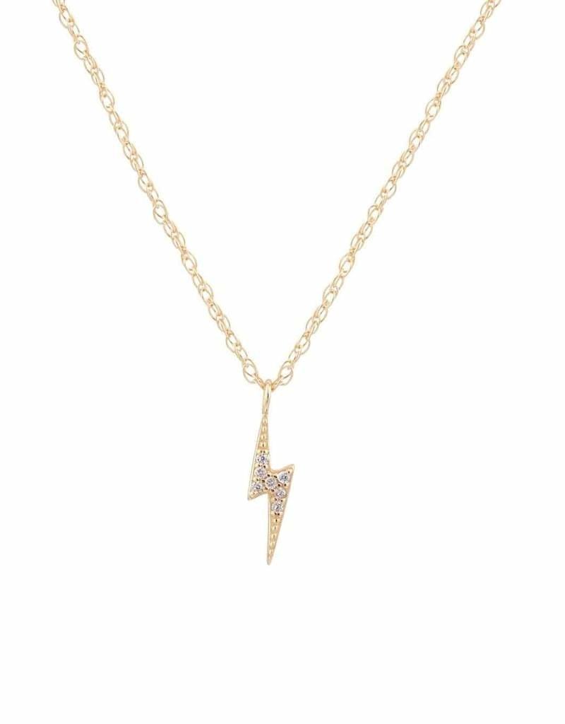 Kris Nations Lightening Bolt Pave Charm Necklace