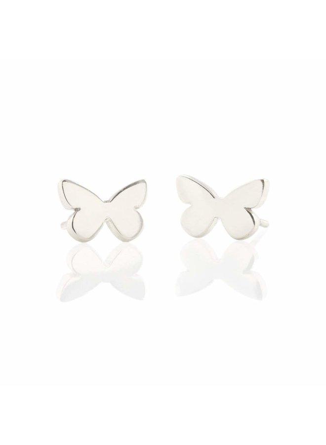 Butterfly Stud Earrings Silver