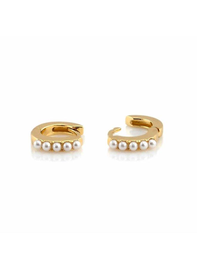 Pearl Huggie Hoop Earring