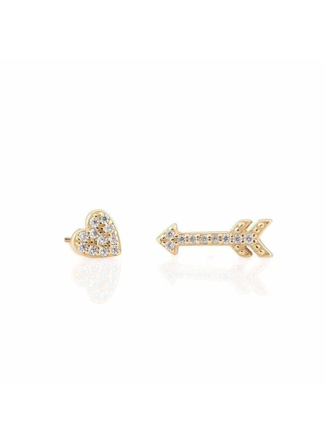 Heart and Arrow Pave Stud Earrings