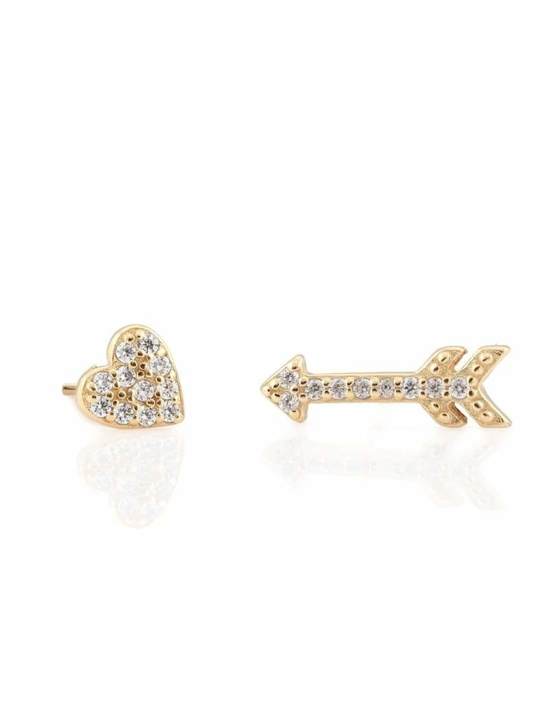 Kris Nations Heart and Arrow Pave Stud Earrings