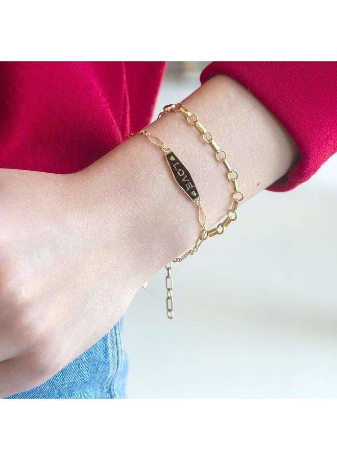 Love Enamel Bracelet Gold