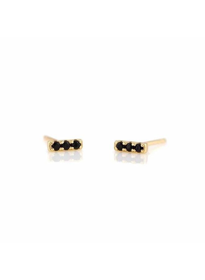 Bar Dash Pave Stud Earrings Jet