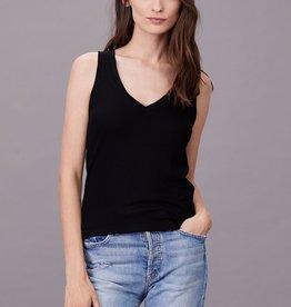 LNA Clothing Ribbed V Slim Tank Black