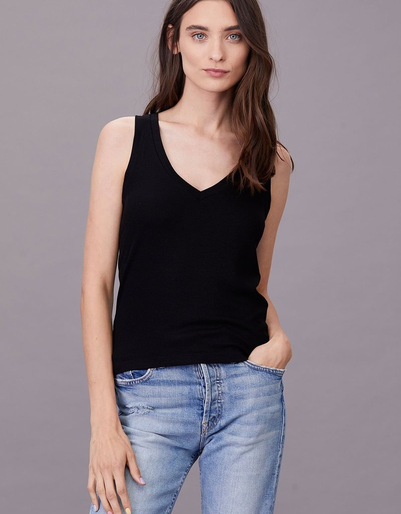 LNA Clothing Ribbed V Slim Tank Black