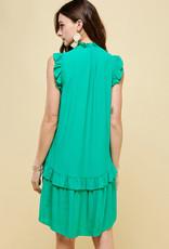 Pinch Sleeveless Ruffle Dress