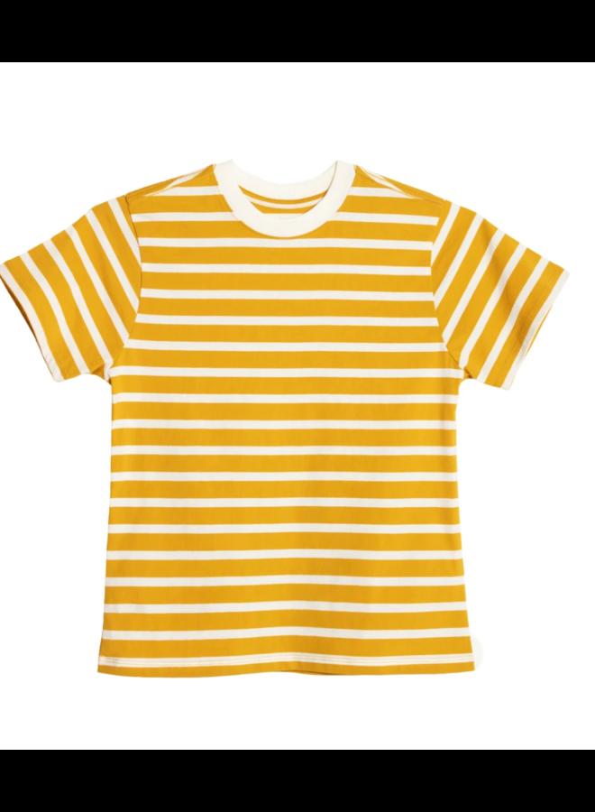 Stripe Crew in Mustard & Off White