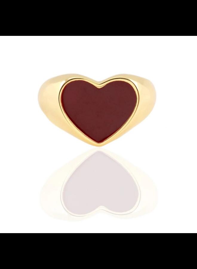 Heart Enamel Ring Deep Red