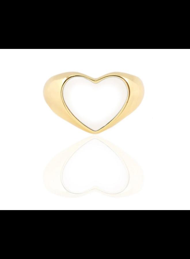 Heart Enamel Ring White