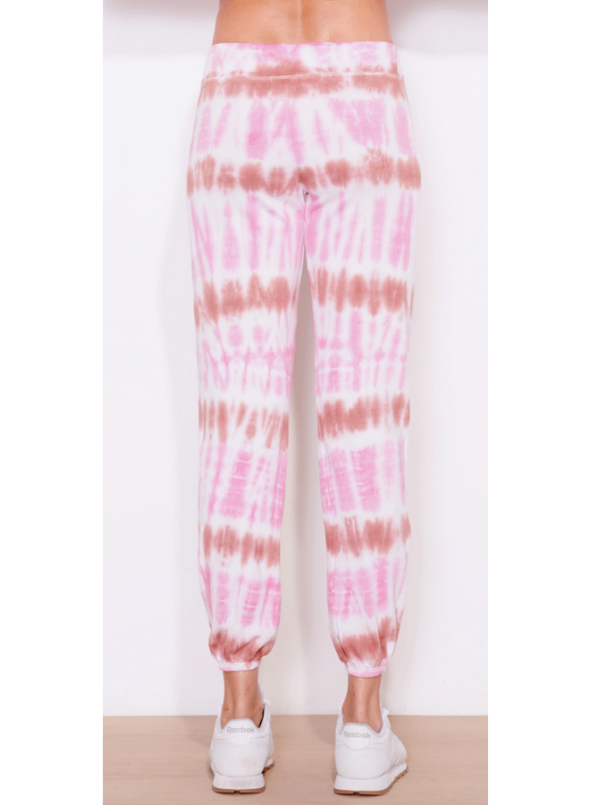 Tie Dye Terry Sweatpants Pink Wine