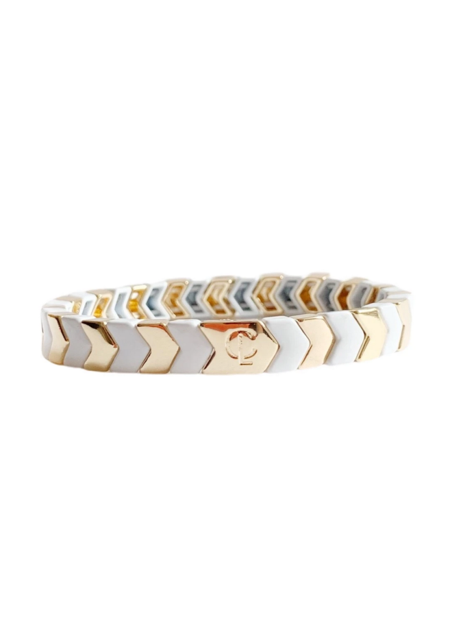 Tile Bead Bracelet Gold/White Chev