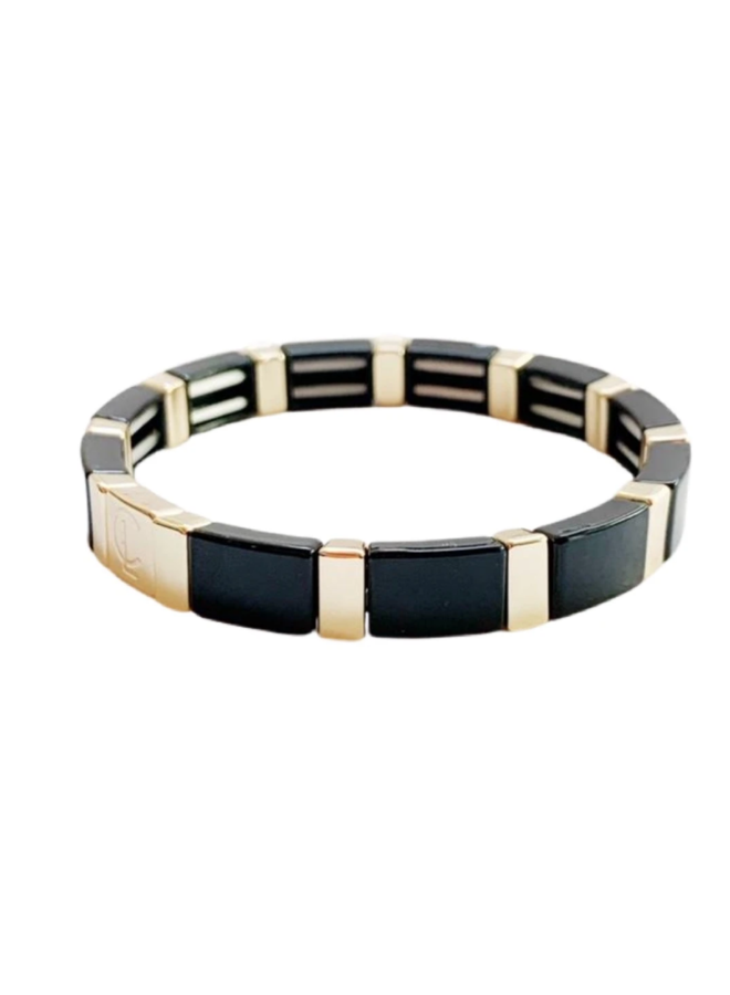 Tile Bracelet Black/Gold Rectangle