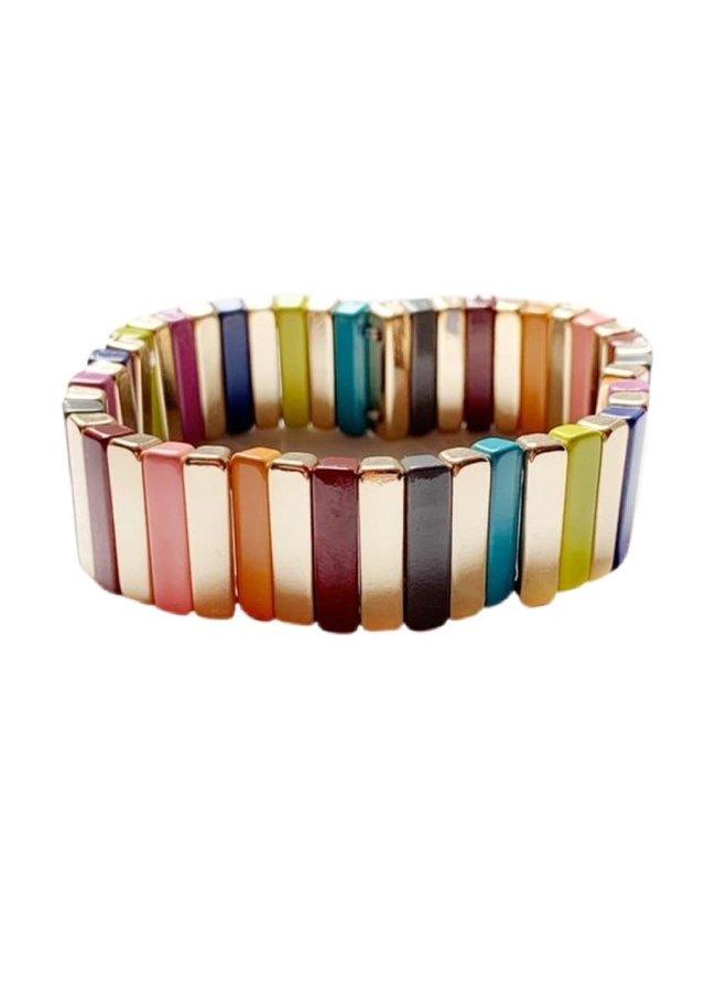 Tile Bracelet Gold Rainbow Bar Large