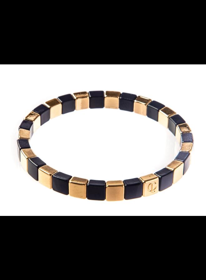 Tiny Tile Bracelet Gold Navy