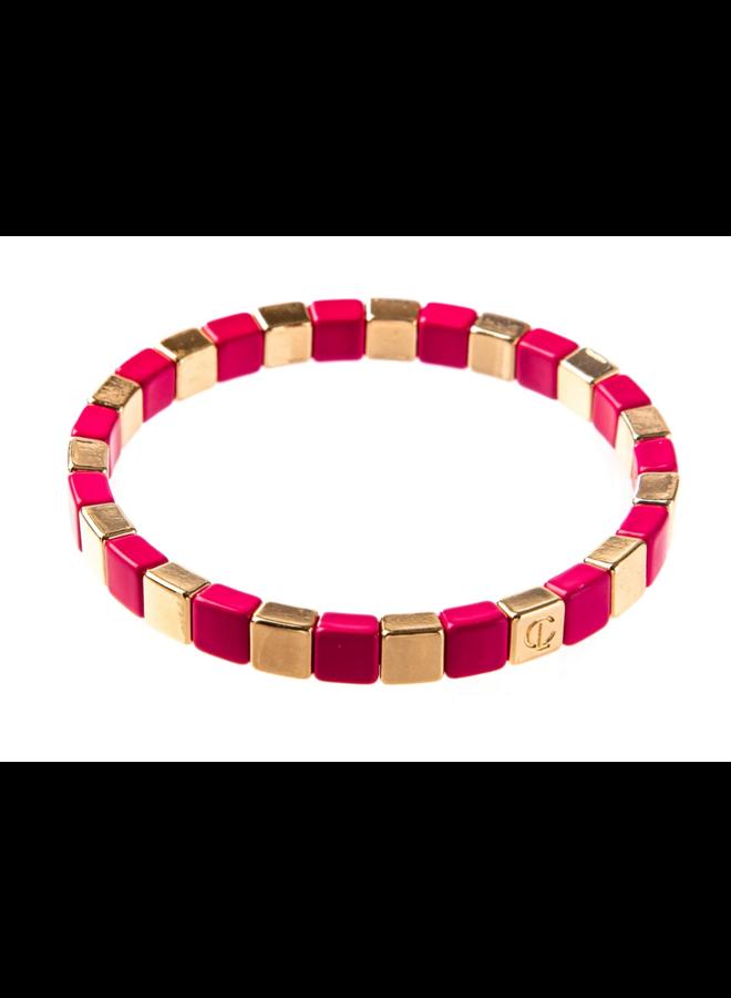 Tiny Tile Bracelet Gold Hot Pink