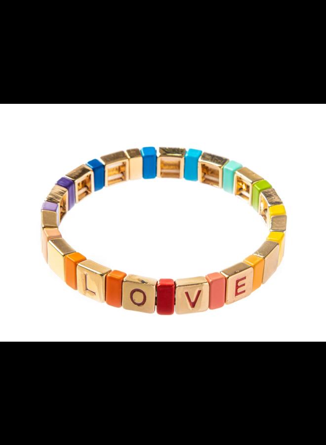 Tile Bracelet Rainbow Love