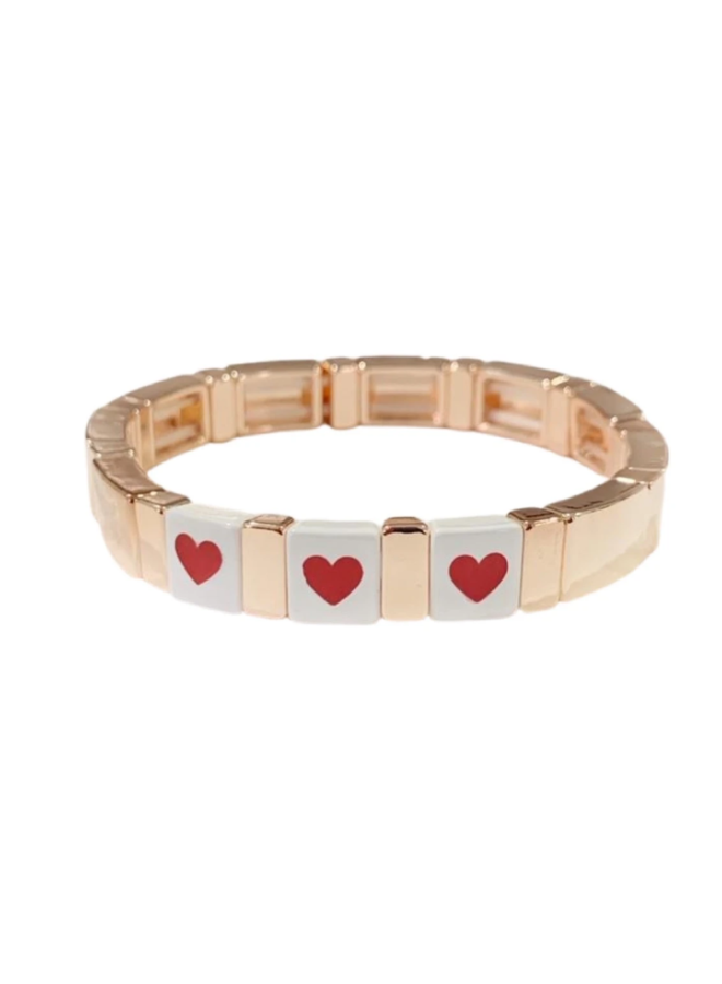 Tile Bracelet Rose Gold Triple Heart