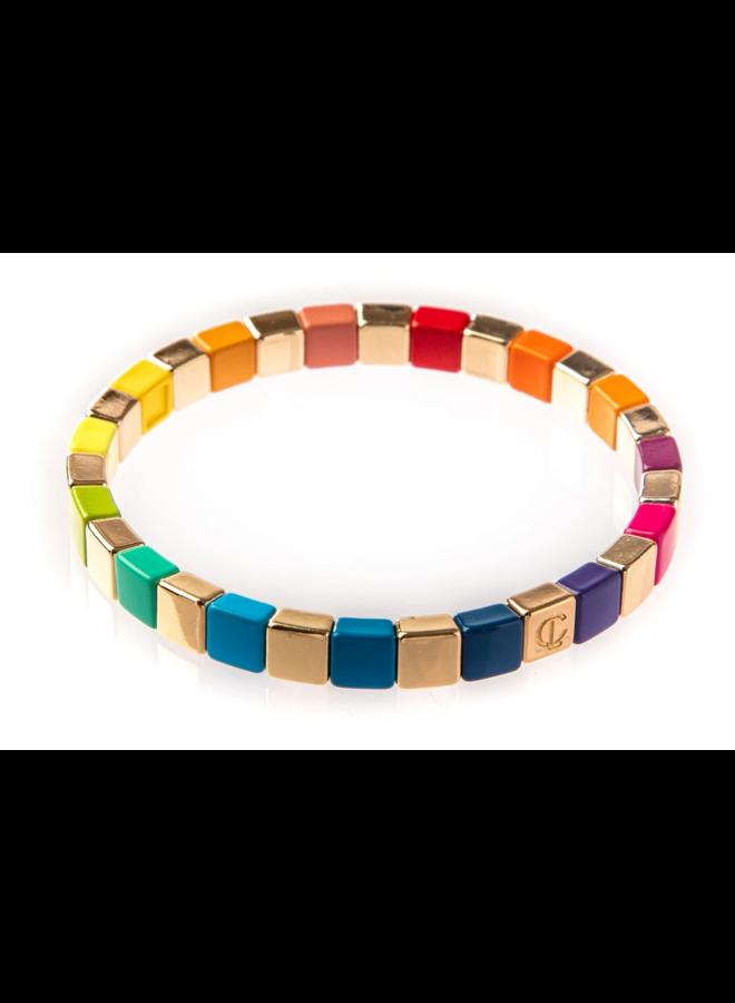 Tiny Tile Bracelet Gold Rainbow