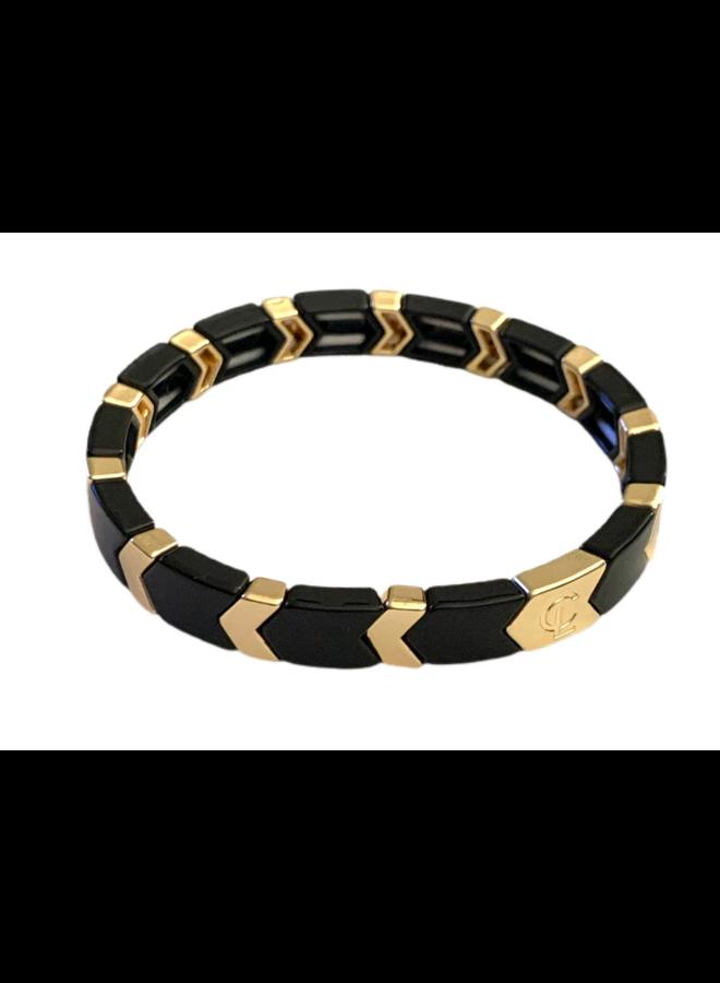 Tile Bracelet Black Gold Arrow