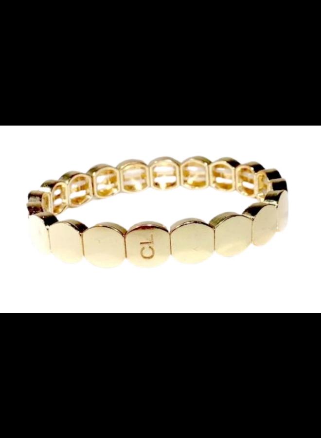 Tile Bead Round Bracelet Gold