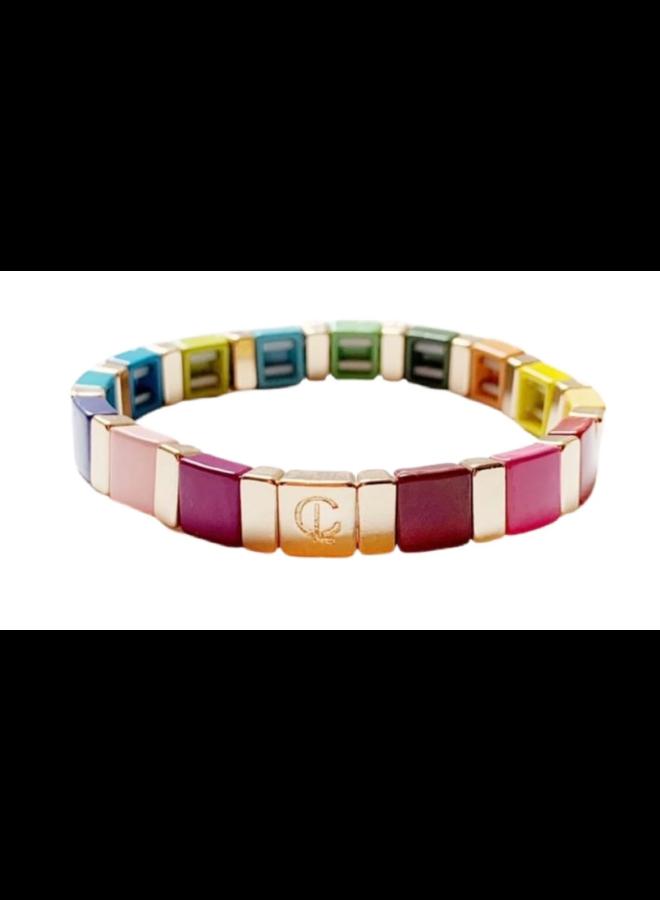 Tile Bracelet Square Rainbow Gold