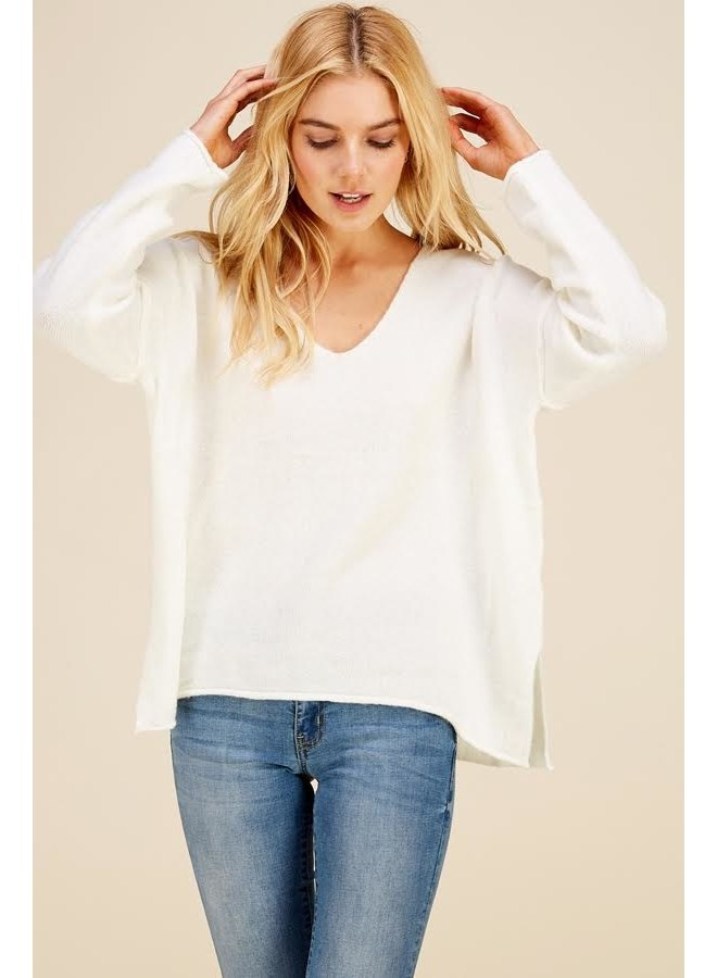 Soft V Neck Sweater Ivory