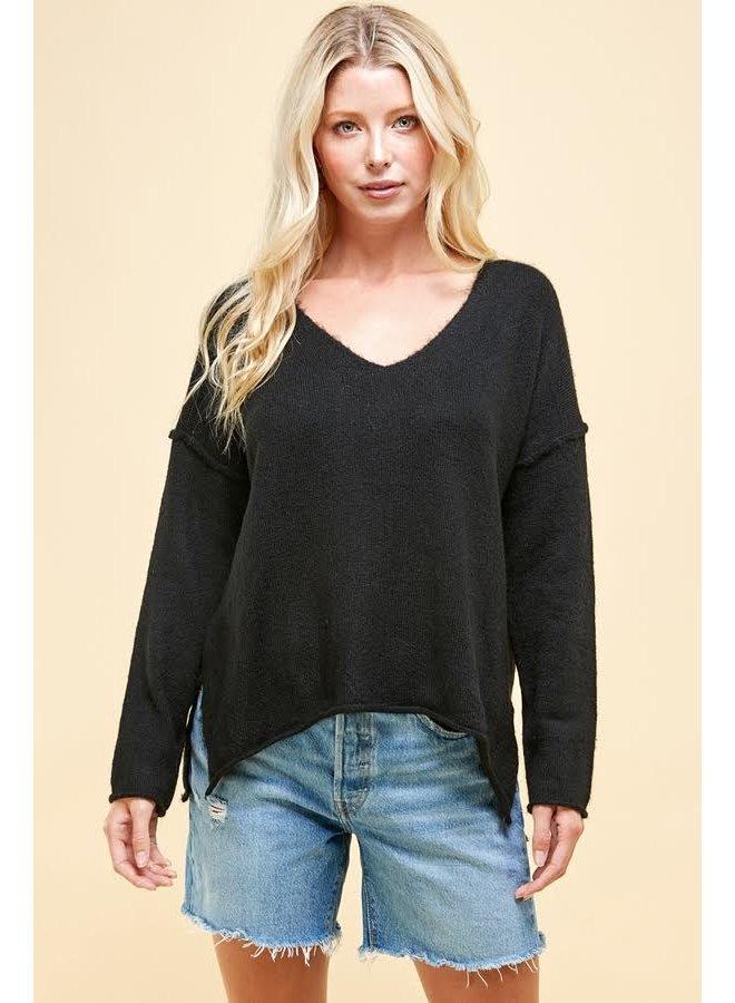 Soft V Neck Knit Sweater Black