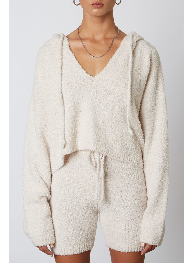 Notched Hooded Sweater Natural